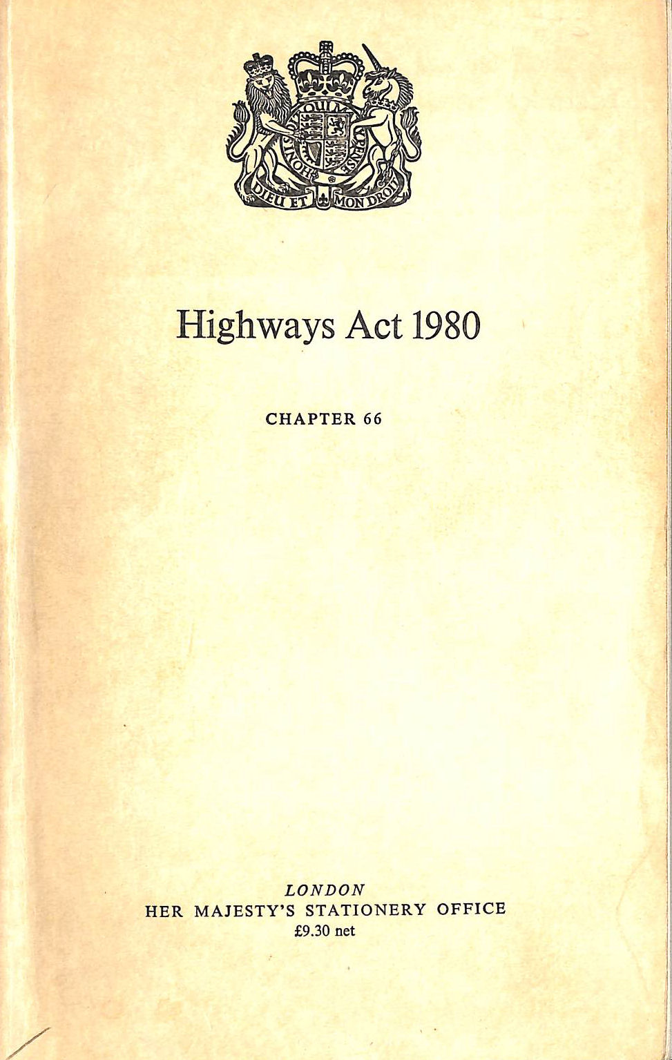 Image for The Highways Act, 1980: Chap 66