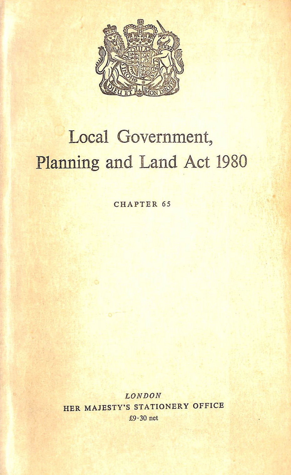 Image for Local Government, Planning And Land Act, 1980: Elizabeth Ii, 1980. Chapter 65