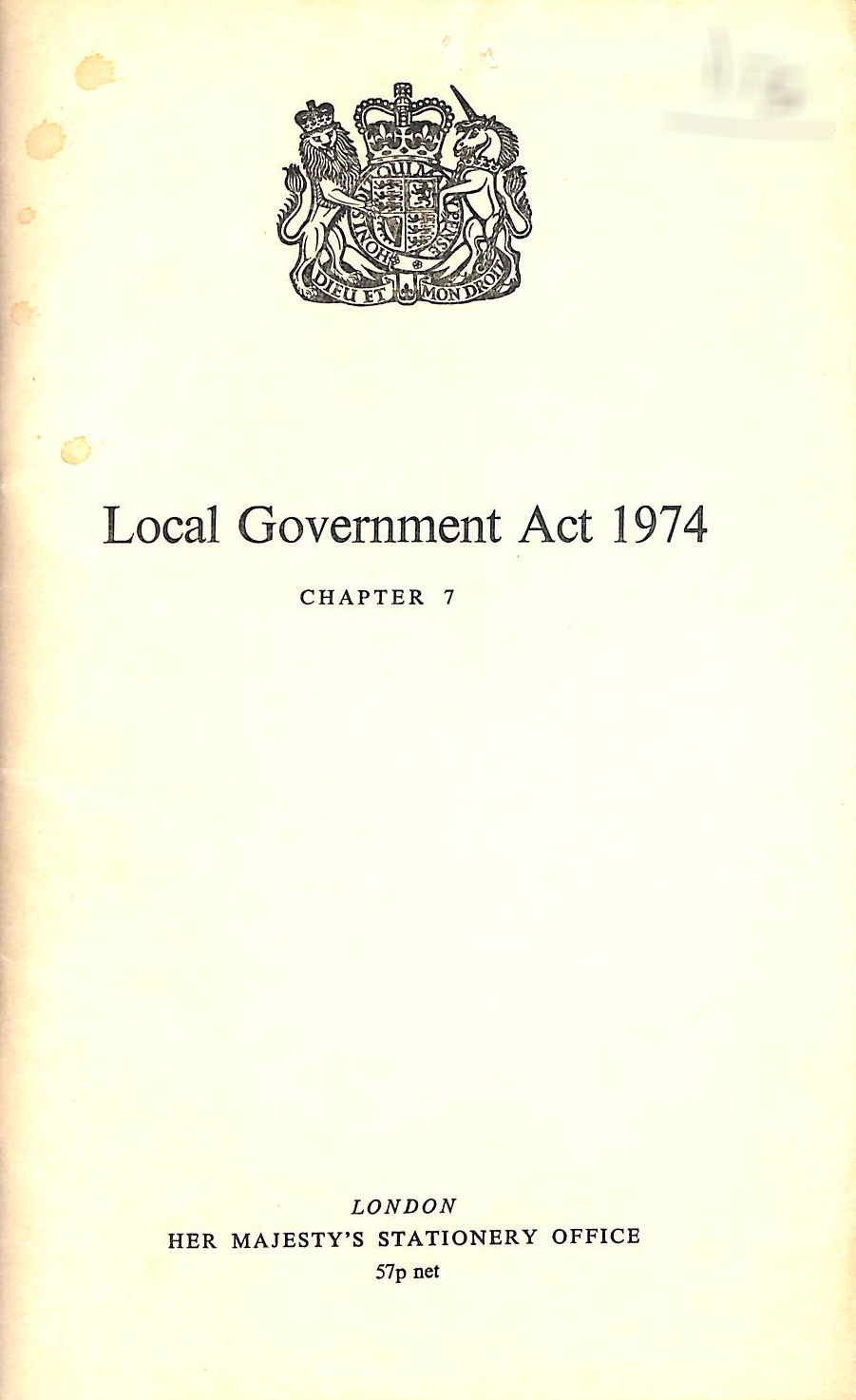 Image for Local Government Act 1974: Eliz. 2. Chapter 7