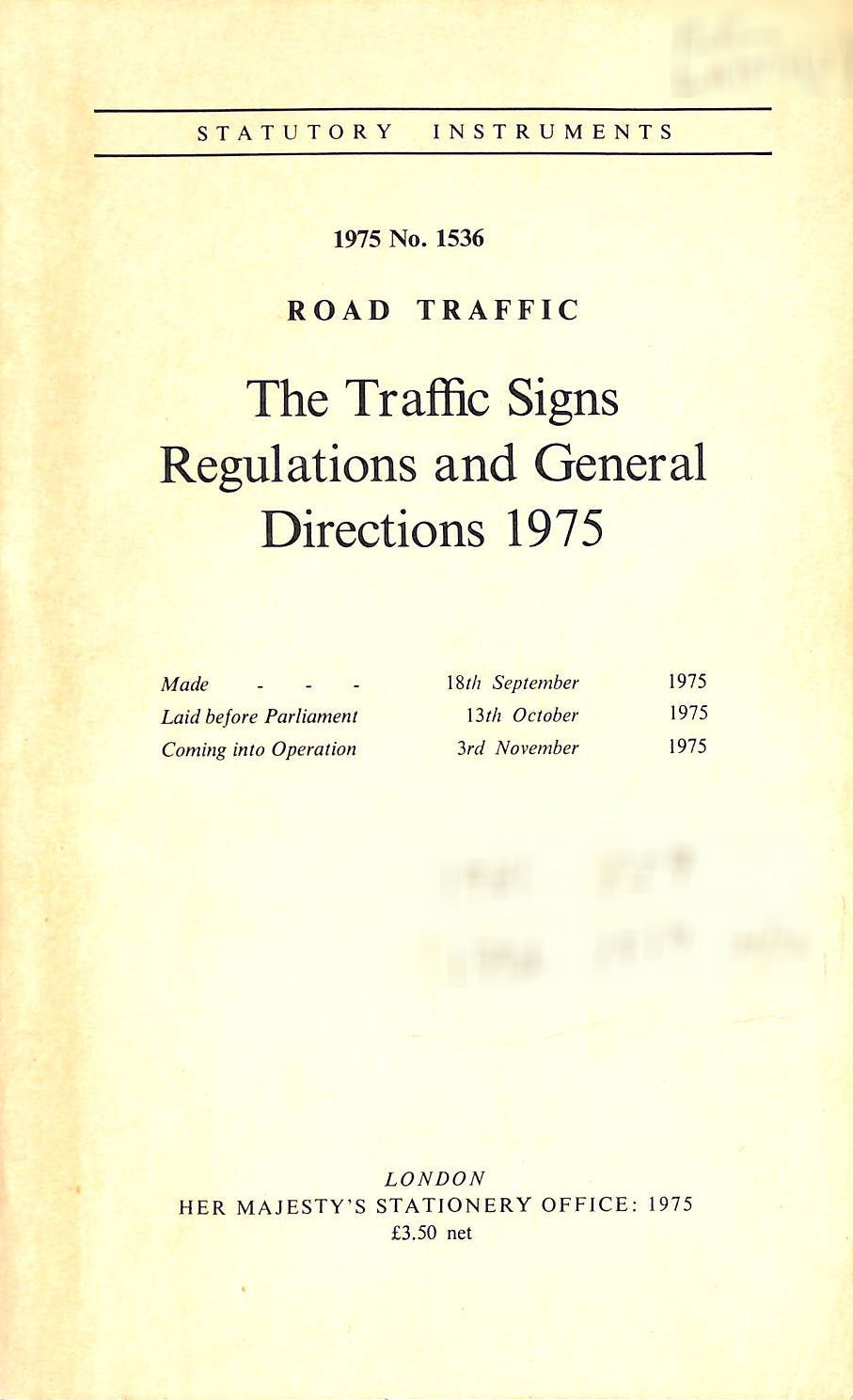 Image for The Traffic Signs Regulations And General Directions 1975
