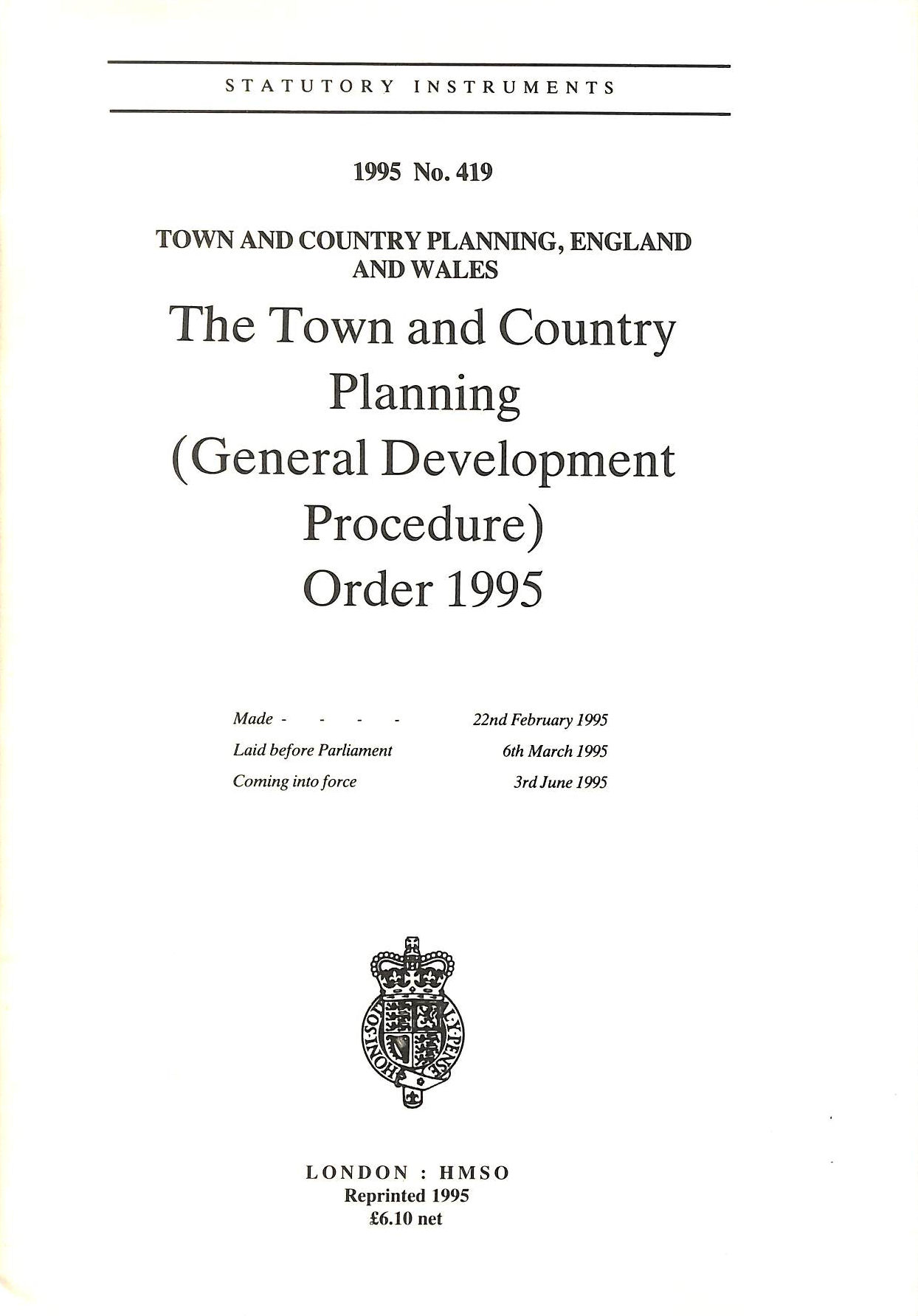 Image for The Town And Country Planning (General Development Procedure) Order 1995 (Statutory Instruments)