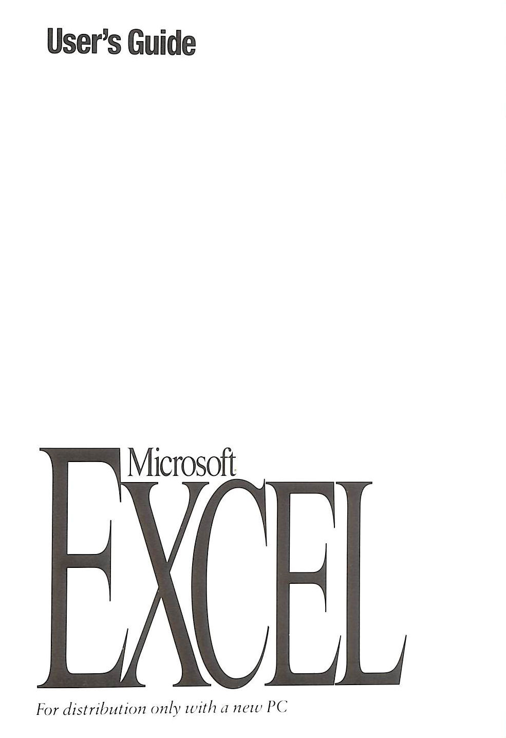 Image for Microsoft Excel: User's Guide Version 5.0