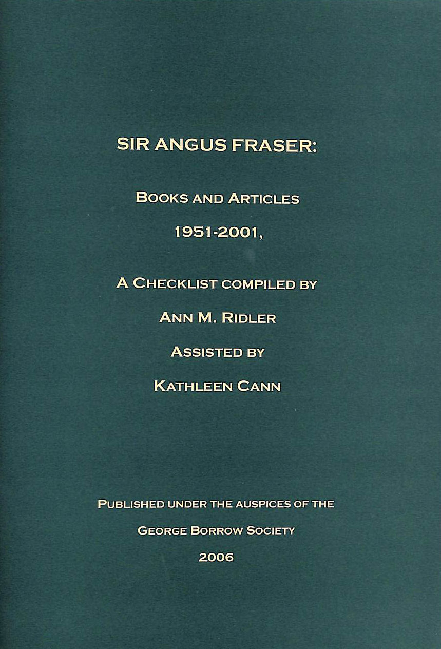 Image for Sir Angus Fraser: Books and Articles 1951-2001 : a Checklist