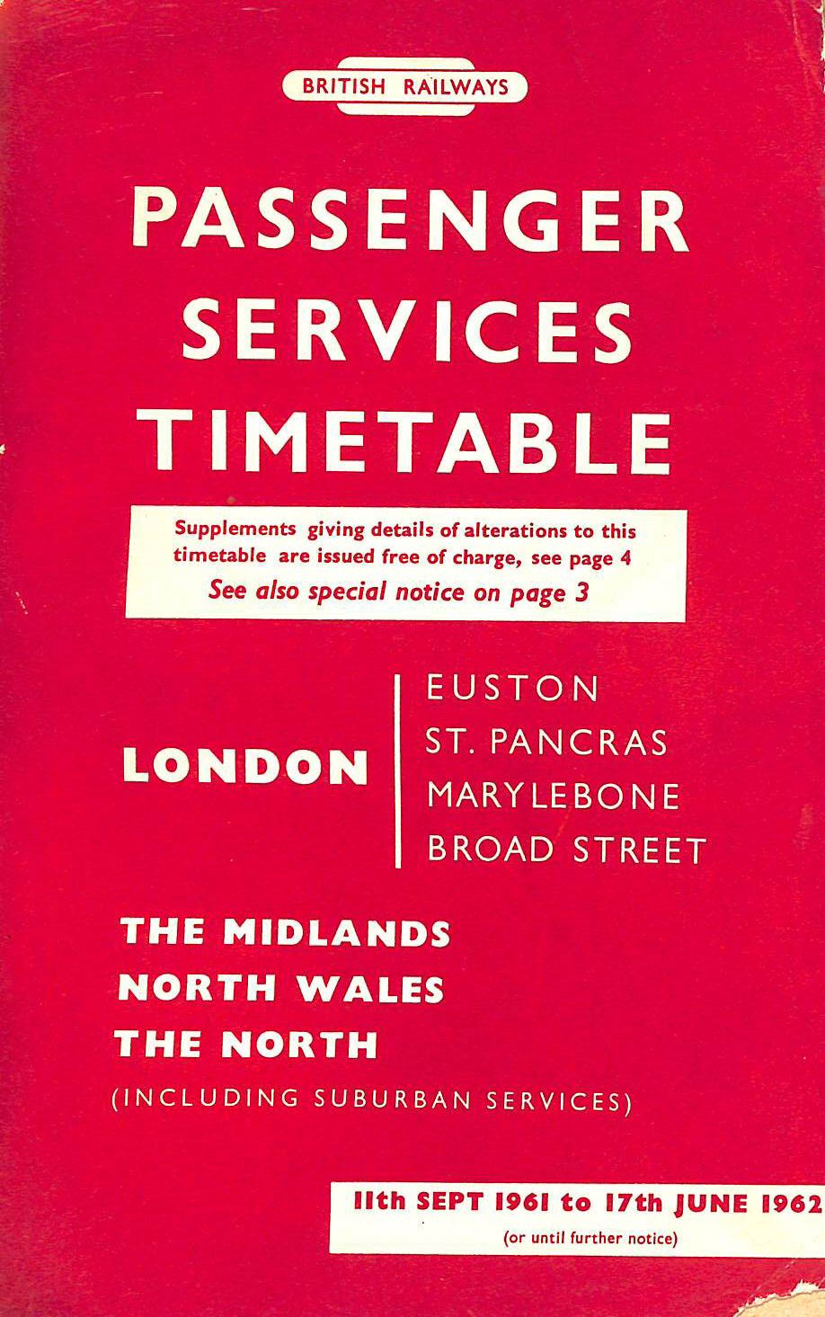 Image for Passenger Services Timetable London Midland Region, 11th Sept 1961 to 17th June 1962