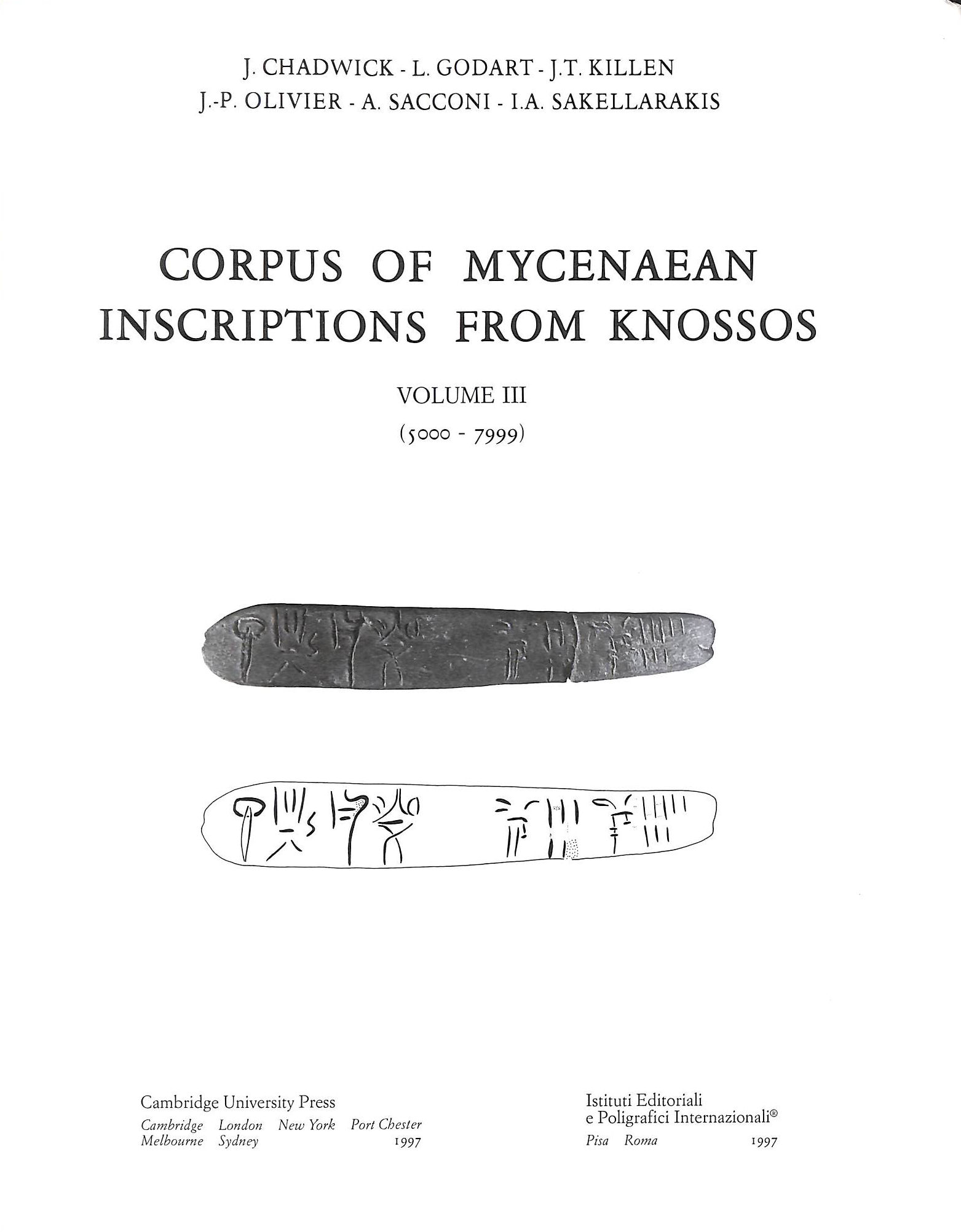 Image for Corpus of Mycenaean Inscriptions from Knossos: Volume 3, 5000-7999
