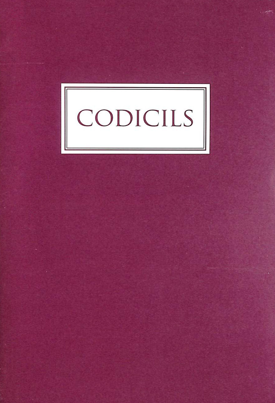 Image for Codicils, Ten more poems, 2009-2016