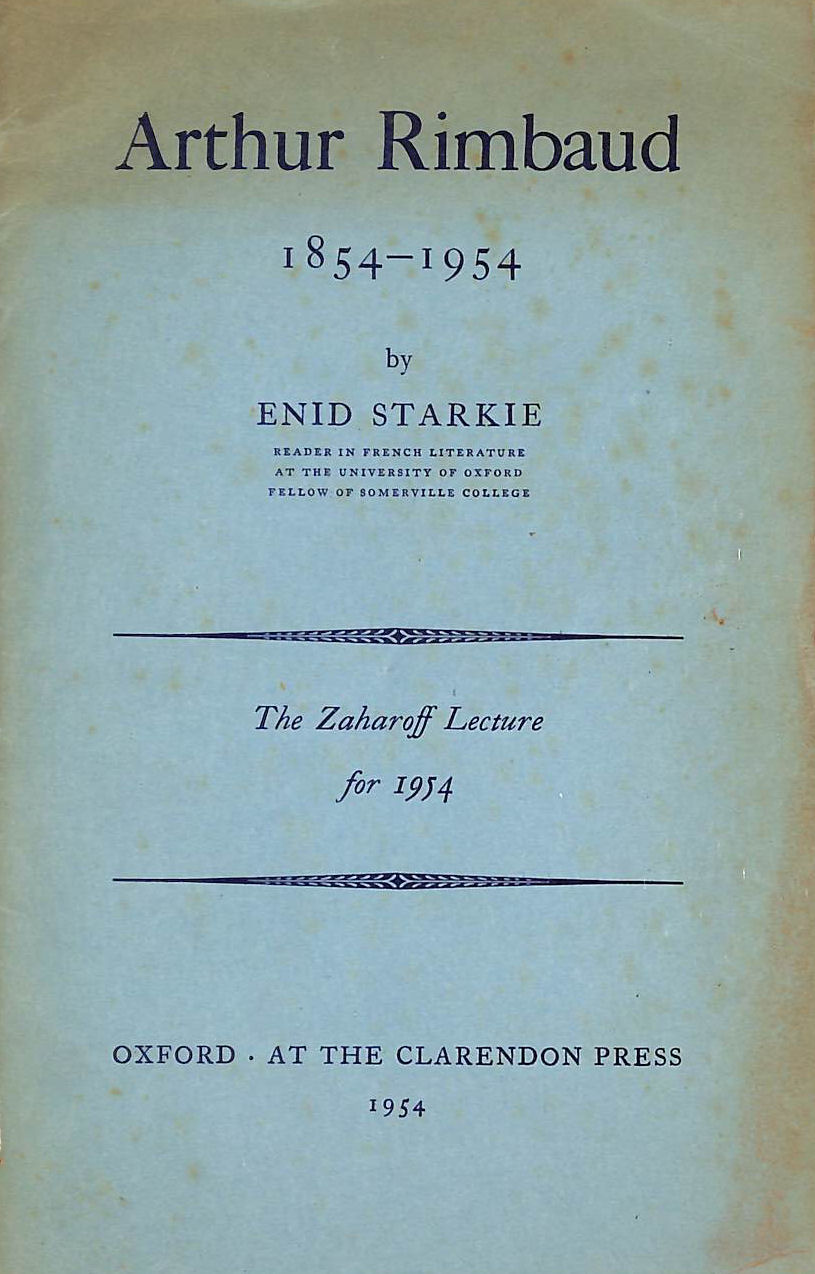 Image for Arthur Rimbaud, 1854-1954 (Zaharoff lectures series-1954)