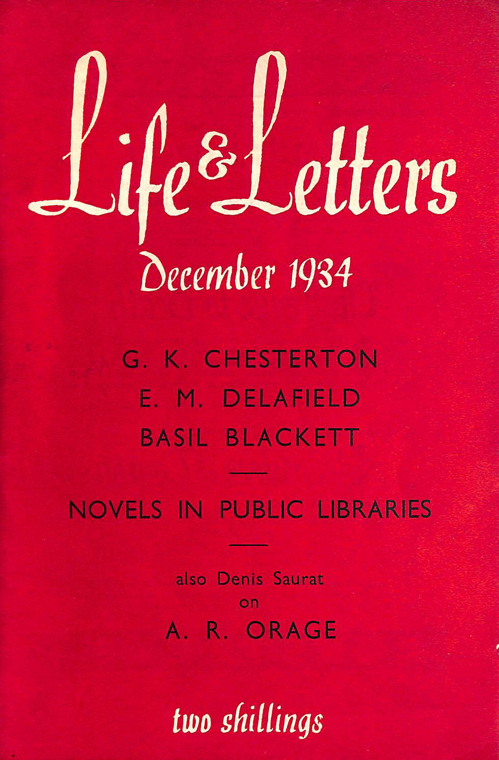 Image for Life And Letters. December, 1934.