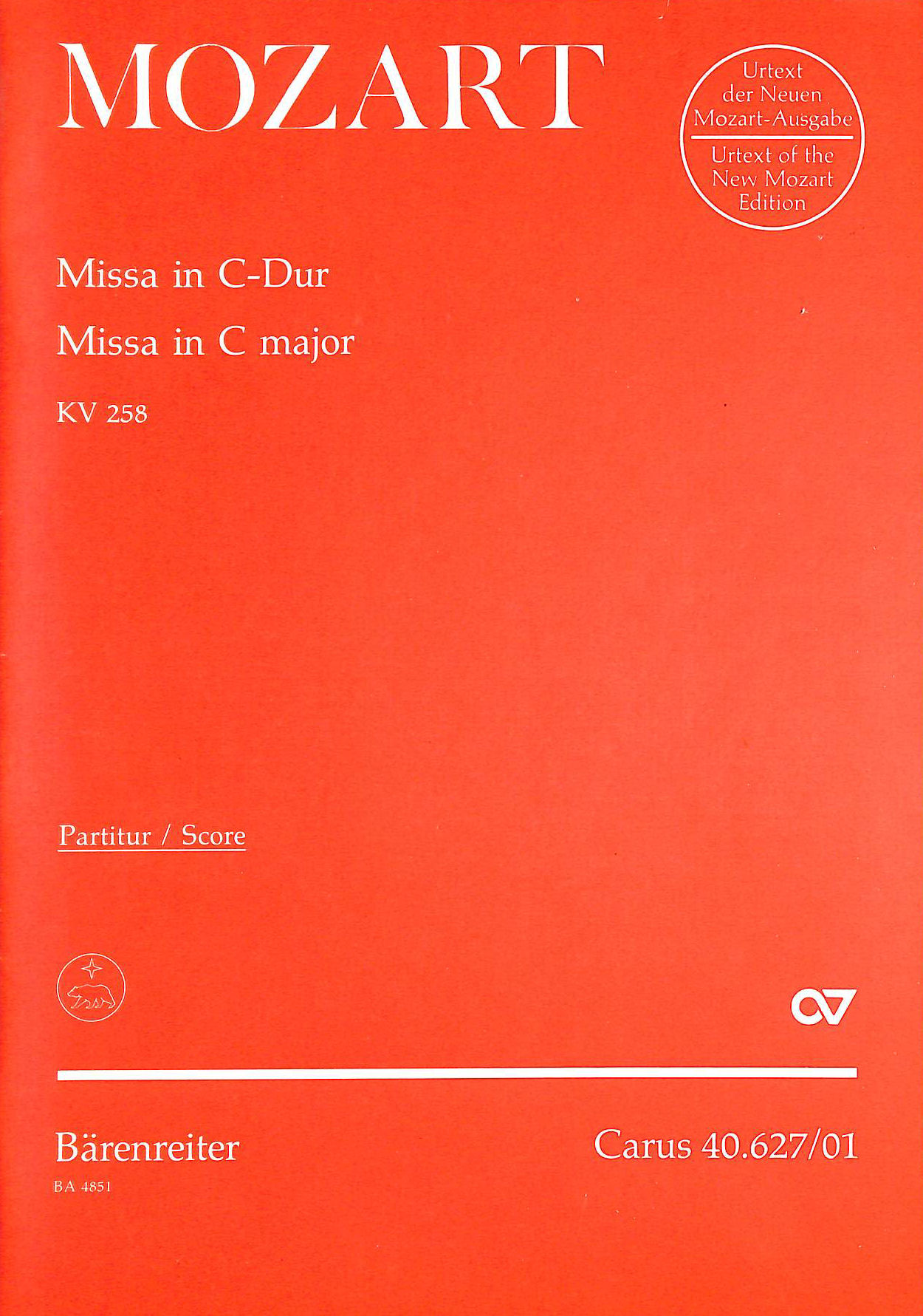 Image for Mozart: Missa in C Major - Voice, Mixed Choir and Orchestra - Score. BA 4851