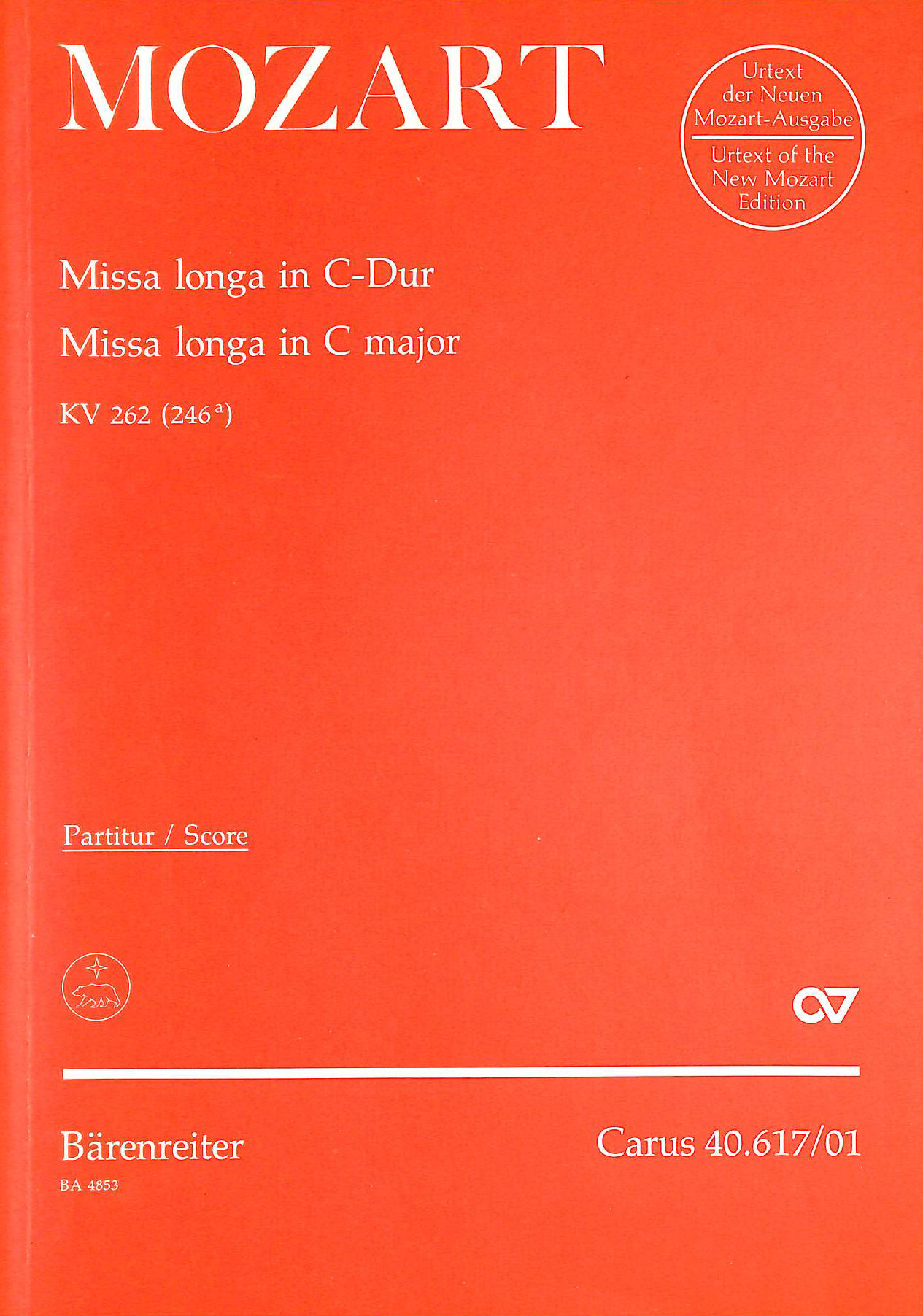 Image for Mozart: Missa Longa in C Major - Voice, Mixed Choir and Orchestra - Score. BA4853