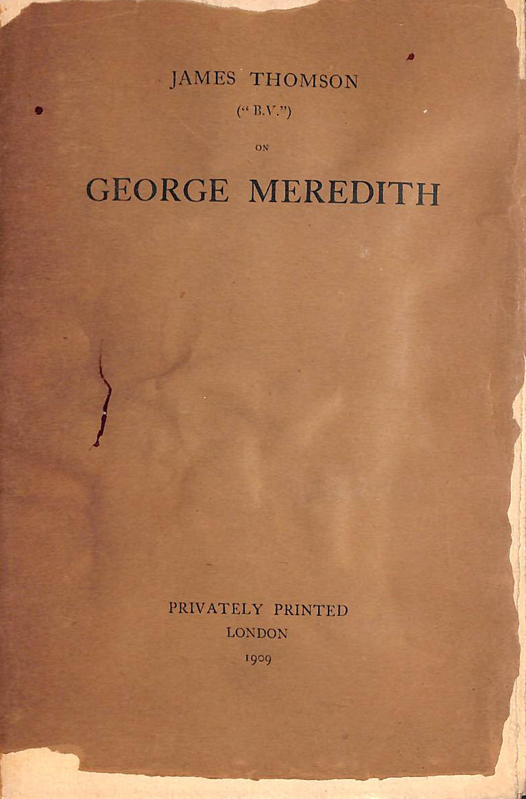 "Image for James Thomson ( "" B.V. "" ) on George Meredith"