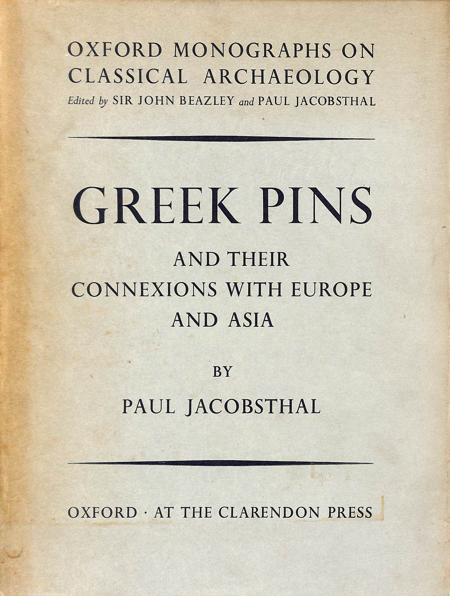 Image for Greek Pins and Their Connexions With Europe and Asia