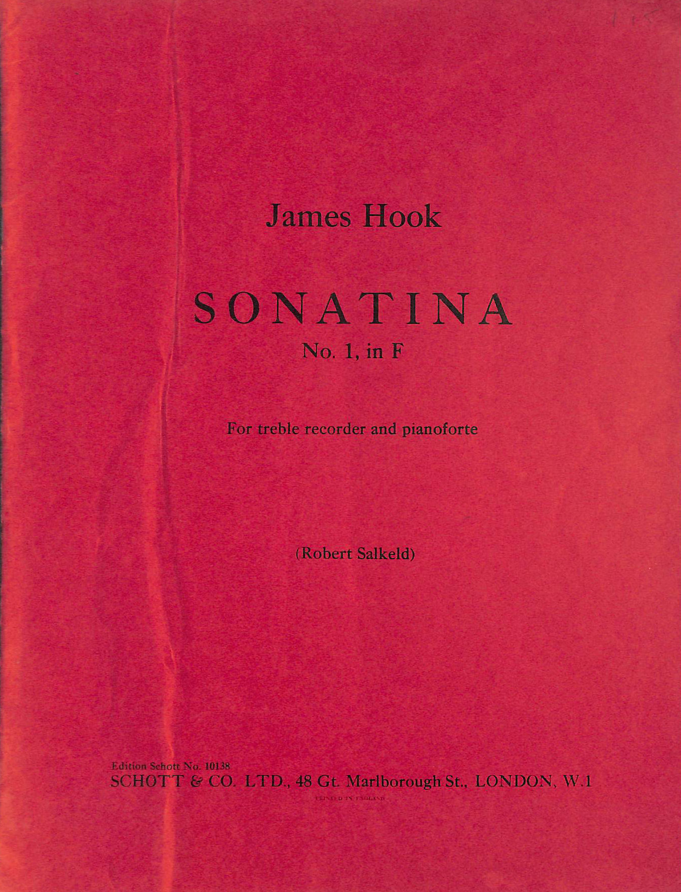 Image for Sonatina No. 1, in F. For treble recorder and pianoforte, etc. <Arr. and edited by Robert Salkeld.> [Score and part.]