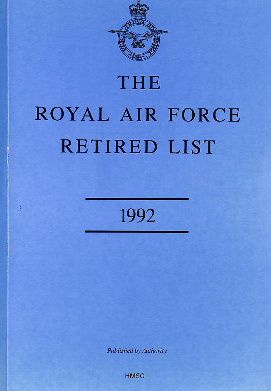 Image for The Royal Air Force Retired List 1992