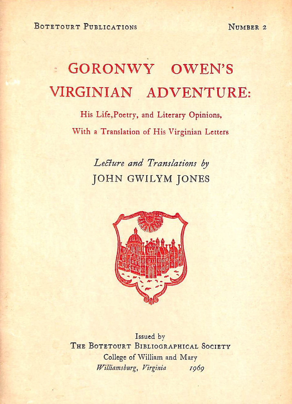 Image for Goronwy Owen's Virginian Adventure: His life, poetry, and literary opinions, with a translation of his Virginian letters