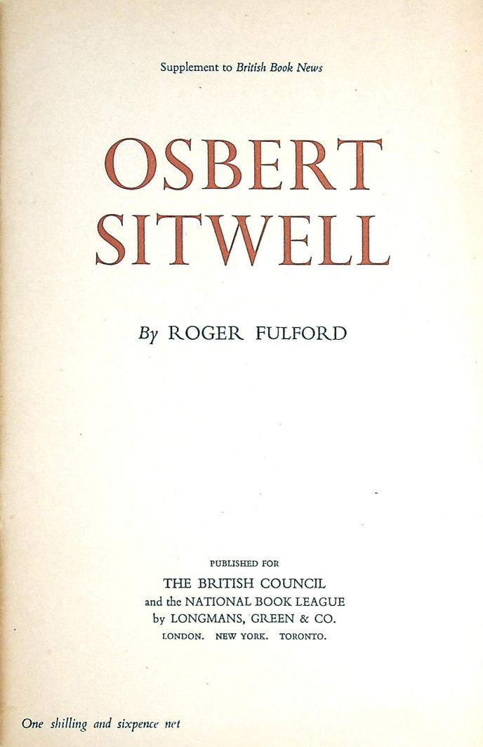 Image for Osbert Sitwell (Bibliographical series of supplements to British Book News;croft)