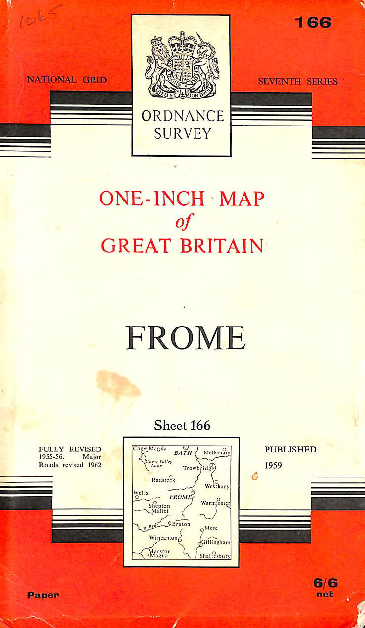 Image for Ordnance Survey One - Inch Map Of Great Britain Frome Sheet 166 Fully Revised 1955-56 Major Roads Revised 1962